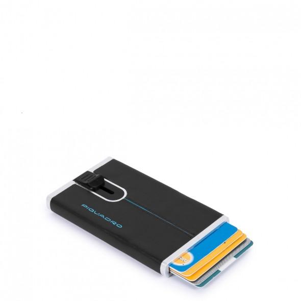 Piquadro δερμάτινη θήκη για κάρτες 6.20x10.5x2cm RFID σειρά Blue Square Black